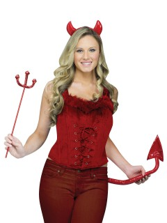 Teufelin Samt-Corsage mit Plüsch rot