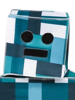 Retro Roboter-Kopf Mütze für Kinder blau-weiss