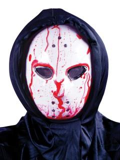 Hockey-Maske mit Blut-Effekt Horror-Maske Serienkiller weiss-rot