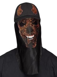 Teufel Halloween-Basecap mit Maske schwarz-rot