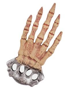 Skeletthand Halloween Accessoire Schlagring-Attrappe silber-beige 31cm