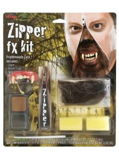Werwolf Halloween Makeup-Set Reissverschluss mit Zähnen bunt