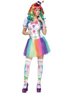 Süsse Clownfrau Damenkostüm weiss-bunt