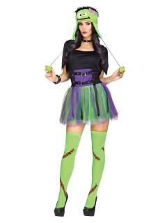 Süsses Monster Halloween-Damenkostüm grün-lila