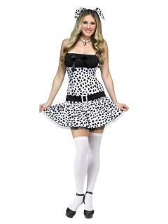 Süsser Dalmatiner Damenkostüm Hund schwarz-weiss