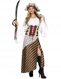 Piraten-Königin Damenkostüm braun-grün-beige