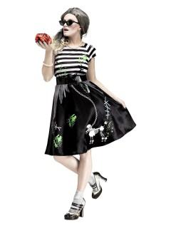 50er-Jahre Zombie Halloween-Damenkostüm schwarz-weiss