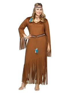Indianerin Western Damenkostüm übergrössen braun