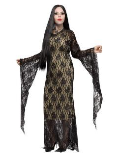Elegantes Gothic Halloween-Damenkostüm übergrössen schwarz