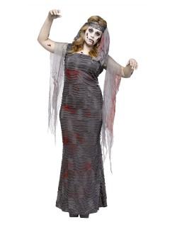 Zombie-Mumie Halloween-Damenkostüm übergrössen grau