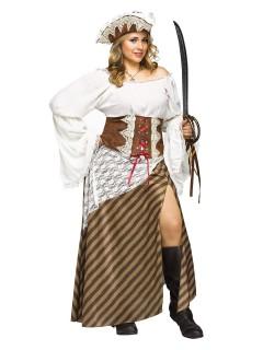 Piraten-Königin Damenkostüm übergrösse braun-weiss