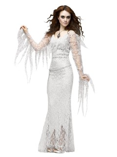 Eleganter Geist Halloween-Damenkostüm Deluxe Gespenst weiss