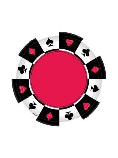 Casino Pappteller Party-Deko 8 Stück schwarz-weiss-rot 18cm