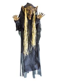Troll-Hexe Halloween-Hängedeko Figur grün-braun-schwarz 182cm