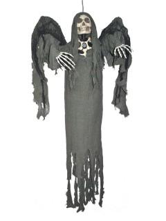 Dunkler Tod Sensenmann mit Sound und Leuchtaugen Halloween-Hängedeko dunkelgrau 160cm