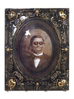 Horror Portrait Monster-Gentleman animiert mit Sound und Leuchtaugen Halloween-Deko schwarz-beige 29x37cm
