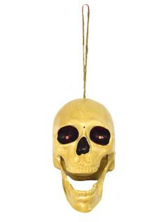 Schauriger Totenkopf Skull animiert mit Sound Halloween-Deko beige 19cm