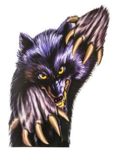 Werwolf Halloween-Fensterdeko lila-grau 60x43cm