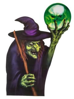 Böse Hexe Horror Halloween-Fensterdeko lila-grün 60x43cm