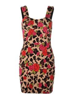 Iron Fist Minikleid Blumengarten rot-beige-schwarz