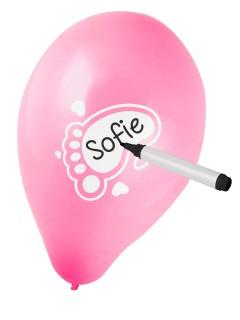 Luftballons zum Beschriften Kindergeburtstag 6 Stück rosa 30cm