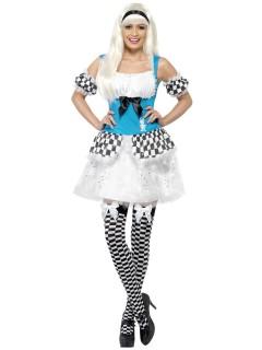 Alice Märchen Damenkostüm leuchtend hellblau-weiss-schwarz