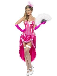 Burlesque Showgirl Damenkostüm pink-weiss