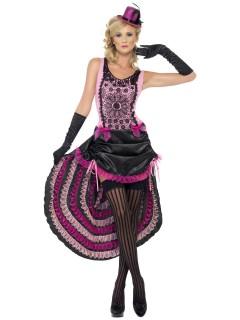 Burlesque Showgirl Damenkostüm rosa-pink-schwarz