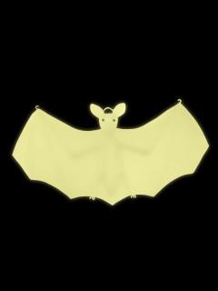 Gruselige Fledermaus nachtleuchtend Halloween-Hängedeko weiss 22x45cm