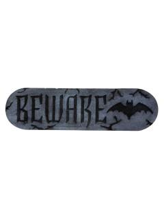"""Schild Beware"""" Halloween-Deko mit Fledermäusen grau-schwarz 30x10x2"""