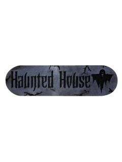 Haunted House-Schild Halloween-Deko grau-schwarz 30x10x2,5cm
