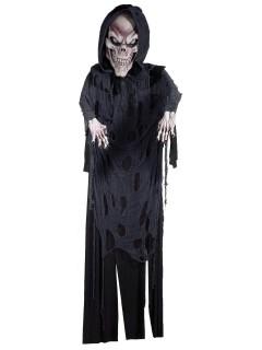 Riesiger Sensenmann Halloween-Hängedeko Skelett grau-schwarz 365cm