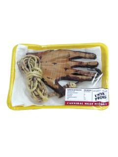 Blutige Fleisch-Schale Hand Halloween-Deko bunt 19x13cm