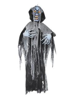 Horror-Ghoul mit Leuchtaugen Halloween-Hängedeko Zombie schwarz-grau 180x160x20cm