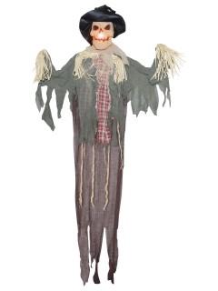 Vogelscheuche Halloween Hängedeko mit Licht beige-grau 183x140x20cm