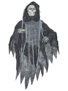 Gruseliges Skelett Halloween-Hängedeko Sensenmann grau-beige 152x89x20cm