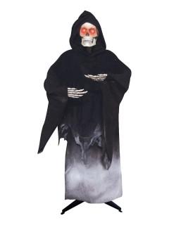 Horror-Skelett Sensenmann mit Leuchtaugen Halloween-Dekofigur schwarz-weiss 176cm