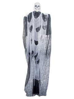 Schmelzendes Horror-Skelett Mega-Halloween-Deko grau-weiss 365x180cm