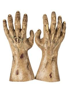 Blutige Zombie-Hände Halloween Handschuhe braun