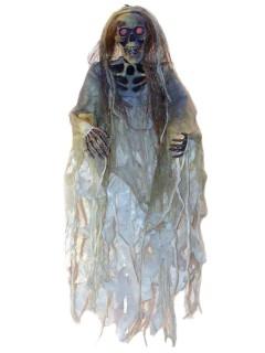 Grinsendes Skelett mit Leuchtaugen Halloween-Hängedeko weiss-beige 152cm