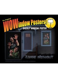 Horror-Zombies Halloween Fenster-Sticker schwarz-grau 91x152cm