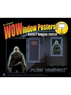 Jason Voorhees™ Freitag der 13.™ Halloween Fenster-Sticker Lizenzware schwarz-grau 91x152cm