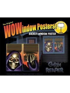 Sensenmann Halloween Fenster-Poster 2 Stück bunt 36x60cm