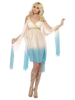 Elegante Griechin Antike-Damenkostüm creme-hellblau