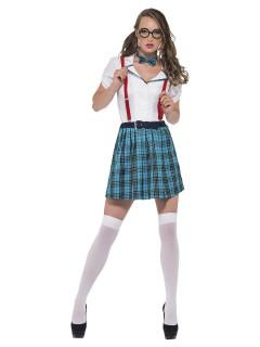 Sexy Schulmädchen Damenkostüm weiss-blau