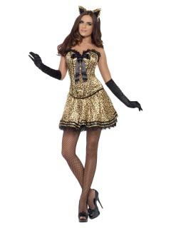 Sexy Raubkatze Damenkostüm Leopard braun-schwarz