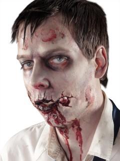 Blutige Zombiemund-Wunde Halloween Latexapplikation beige-rot