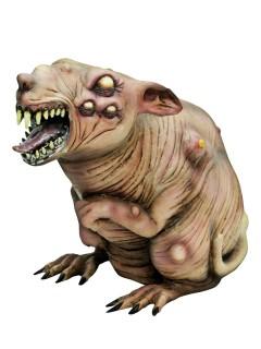 Schaurige Zombie-Ratte Halloween Party-Deko beige-braun ca. 17x38x27cm