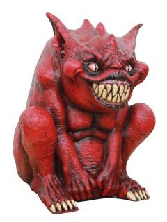Grinsender Teufel-Dämon Halloween Party-Deko rot 33x30x22cm