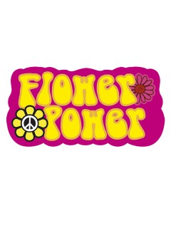 70er Deko-Schild Flower Power Party-Deko bunt 54x26,5cm